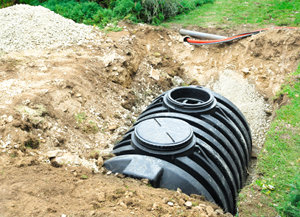 septic tank installed in a garden